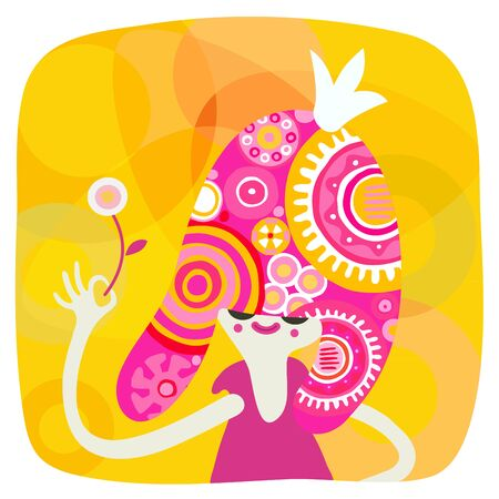 yellow dress: The vector illustration of a pink hair styled girl with patterned hair wearing a crown and a purple dress holding the flower, on the yellow background Illustration