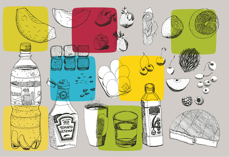 vectorial: Hand drawn vectorial food, easy to recolour