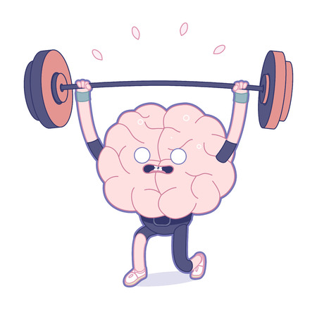 brain illustration: Train your brain series - the flat outlined vector illustration of training brain activity, weightlifting. Part of a Brain collection. Illustration