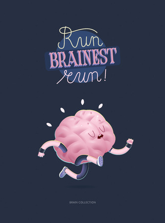 Train your brain poster - the vector illustration of a training running brain with lettering Run Brainest Run. Part of Brain collection.