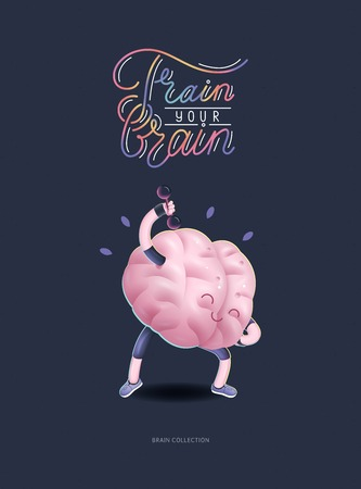 Train your brain poster - the vector illustration of a training brains activity with lettering Train Your Brain, dumbbells exercises. Part of Brain collection. Illustration