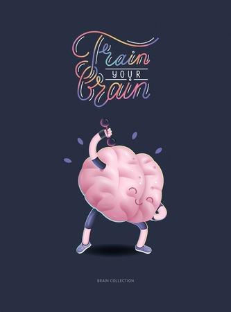 Capacitar a su cartel del cerebro - la ilustración vectorial de una actividad de formación cerebros con letras entrenar a tu cerebro, ejercicios de pesas. Parte de la colección de cerebro.