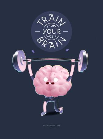 Capacitar a su cartel del cerebro - la ilustración vectorial de una actividad de formación cerebros con letras entrenar a tu cerebro, levantamiento de pesas. Parte de la colección de cerebro. Ilustración de vector