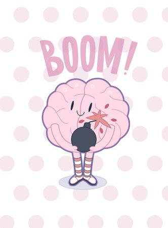 paciencia: Un vector de dibujos animados del cartel esboz� plana ilustrada de un cerebro que lleva los calcetines de rayas hasta la rodilla que sujetan la bomba en sus manos, la met�fora de la paciencia, acompa�ado con un Boom letras