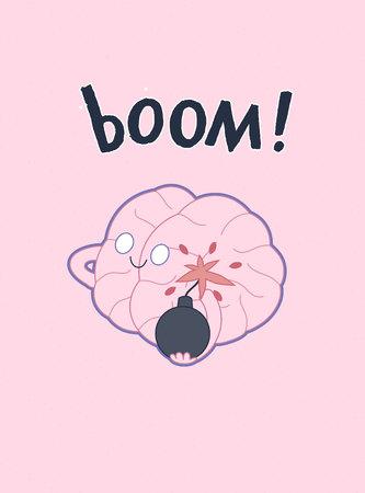 paciencia: Un vector de dibujos animados del cartel esboz� plana ilustrada de un cerebro que sostiene la bomba en sus manos, la met�fora de la paciencia, acompa�ado con un Boom letras Vectores