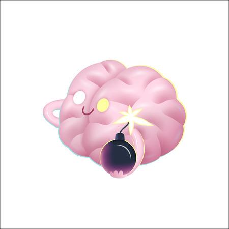 paciencia: Un ejemplo de la historieta del vector de un cerebro que sostiene la bomba en sus manos, la metáfora de la paciencia