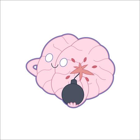 paciencia: Una ilustración vectorial de dibujos animados plana esbozado de un cerebro que sostiene la bomba en sus manos, la metáfora de la paciencia Vectores