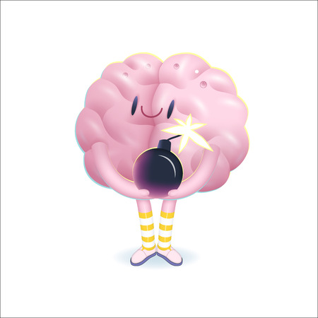 patience: A vector cartoon illustration of a brain  wearing knee-length striped socks holding the bomb in its hands, the metaphor of patience