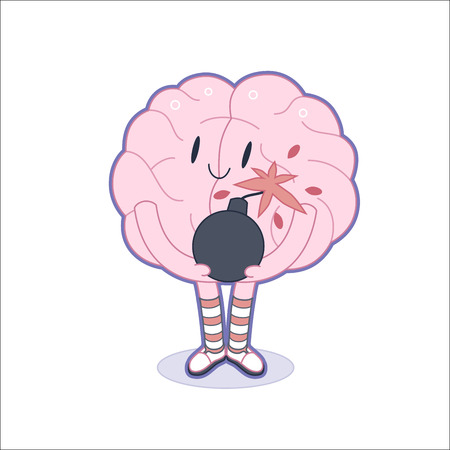 A vector outlined flat cartoon illustration of a brain  wearing knee-length striped socks holding the bomb in its hands, the metaphor of patience
