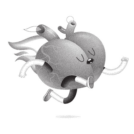 burns: My heart burns for you - a dotted vector cartoon illustration of a running burning heart. Part of a Brain collection.