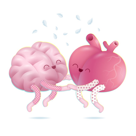 pajama: Pajama party -  - the vector illustration of a brain and a heart wearing pajamas jumping together holding their hands. A part of Brain collection.
