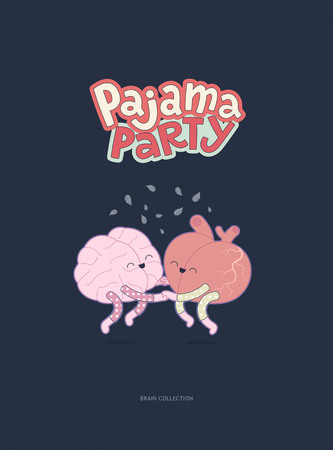 pajama: Pajama party - the vector outlined flat illustrated poster of a brain and a heart wearing pajamas jumping together holding their hands with lettering. A part of Brain collection.