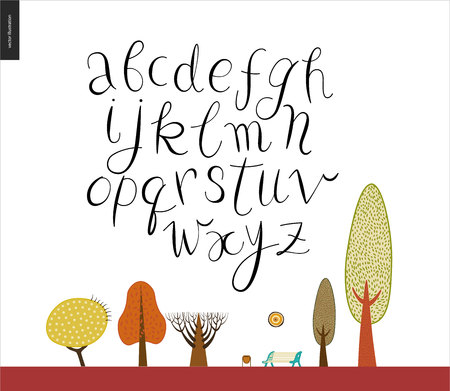 receptacle: Script alphabet volume 2 - vector illustrated script font on white background with trees and a park bench