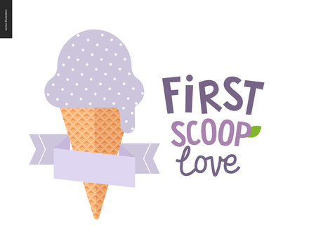 the first love: First scoop love - the vector flat cartoon illustration of lilac, light violet or bilberry scoop of ice cream in a waffle cup with a flat stilized ribbon and a composed lettering aside