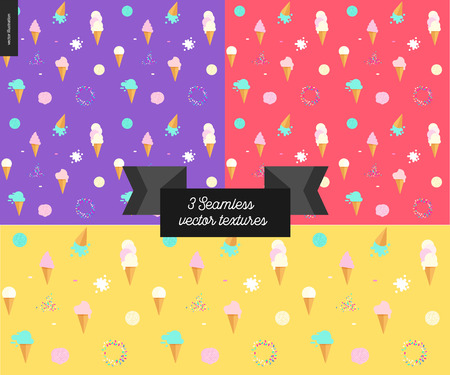 sprinkles: Three Ice cream seamless patterns - violet, red and yellow seamless patterns on ice cream topic - flat cartoon illustrated waffle cones, scoops, and sprinkles, with flat stilized ribbon with a title Illustration
