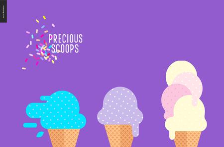 écopes précieux sur violet - vecteur plat illustration de bande dessinée de lilas, violet clair, myrtille, menthe, rose, jaune boules de crème glacée à gaufre tasses, arrose sur fond violet Vecteurs