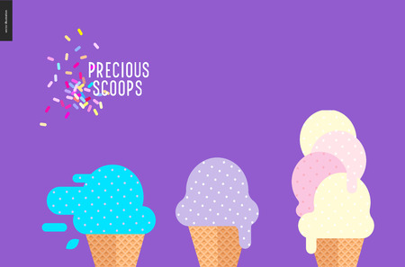 sprinkles: Precious scoops on purple - vector flat cartoon illustration of lilac, light violet, bilberry, mint, pink, yellow ice cream scoops in waffle cups, sprinkles on purple background