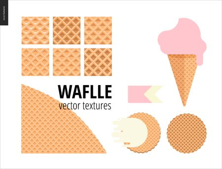 belgian waffle: Vector illustration of six seamless waffle patterns and red fruit ice cream scoop in a waffle cone, pink flat ribbon and two round belgian waffers