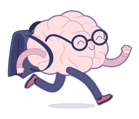 running back: Back to school flat cartoon vector illustration - a brain wearing glasses running with a schoolbag. Part of a Brain collection.