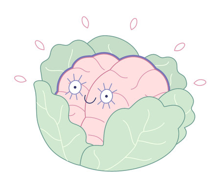 brand new: Brand new, new-born brain in the cabbage flat cartoon vector illustration. A part of brain collection.