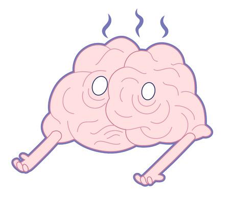 part of me: Estoy vivo, ilustración de dibujos animados plana - un cerebro dañado fumar fusión tendido en el suelo. Parte de una colección de cerebro. Vectores