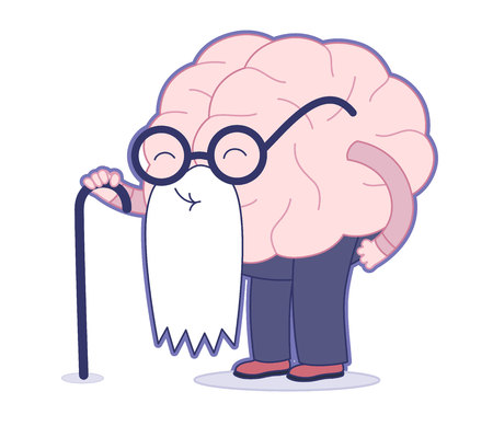 Età cartone piatta illustrazione - un vecchio cervello con gli occhiali rotondi e lunga barba bianca in possesso di un bastone. Parte di una collezione cervello.