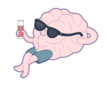 mental activity: Relaxing with a glass of juice flat cartoon illustration - a brain lying with a glass of red juice wearing shorts and sunglasses. Part of a Brain collection.