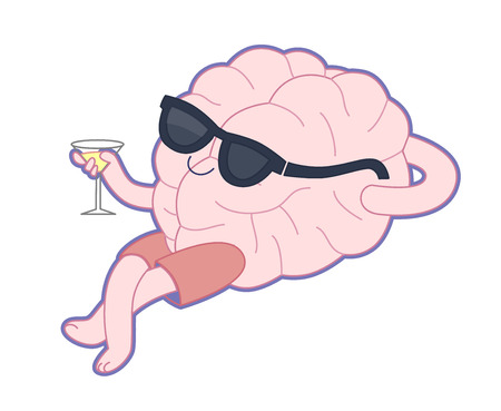 Relaxing with a glass of alcohol drink flat cartoon illustration - a brain lying with a glass of vermouth wearing shorts and sunglasses. Part of a Brain collection.