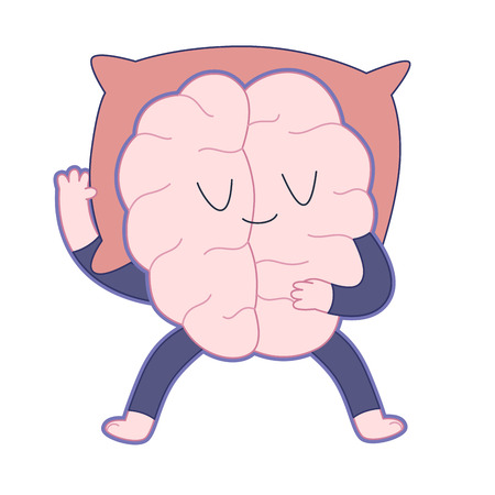 Sleeping brain flat cartoon illustration - a brain wearing a pajama sleeping sprawl out on a red pillow. Part of a Brain collection. Ilustração