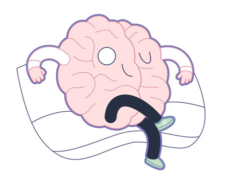 satisfied: Supremacy - haughty satisfied brain sitting on the sofa flat cartoon illustration. A part of the Brain collection.