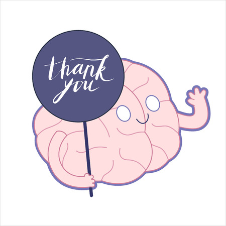 Thank you - a weaving brain holding Thank You lettering plate in its hand, flat cartoon illustration. A part of Brain collection.