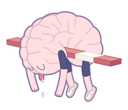 Exhausted brain hanging on the hurdle in hurdle race activity - flat cartoon illustration. A part of the Brain collection. 일러스트