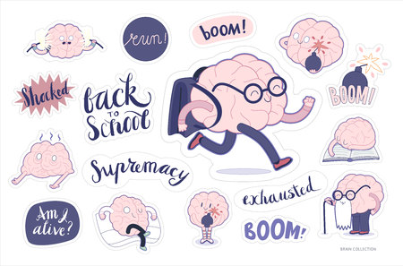 Brain stickers education and stress printable set, cartoon isolated images with cutting path and lettering, a part of Brain collection