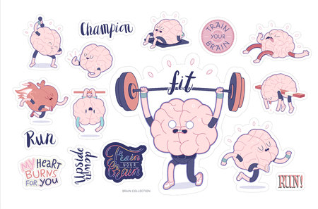 anatomy heart: Brain stickers fitness printable set, cartoon isolated images with cutting path and lettering, a part of Brain collection