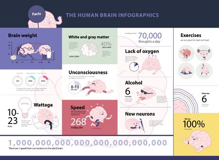 brain damage: Human brain infographic set, cartoon isolated images accompanied with statistic facts and graphs, a part of Brain collection Illustration