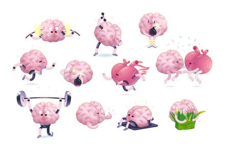 Hersenen en het hart fitness set, cartoon geïsoleerde beelden, een deel van de hersenen collectie