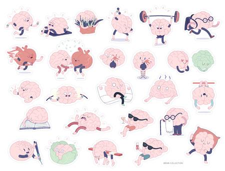 deportes caricatura: pegatinas cerebrales conjunto de impresi�n, im�genes de dibujos animados aislados con el camino de planos, una parte de la colecci�n de cerebro de corte. actividades Vaus cerebro - deportiva, la educaci�n, lesure, trabajo, relaci�n, comer, el envejecimiento, la concentraci�n Vectores