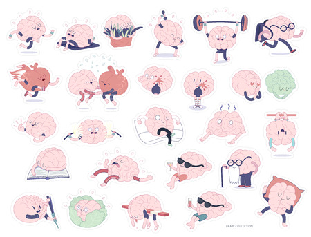 Brain stickers printable set, flat cartoon isolated images with cutting path, a part of Brain collection. Brain various activities - sporting, education, lesure, working, relationship, eating, aging, concentration Illustration