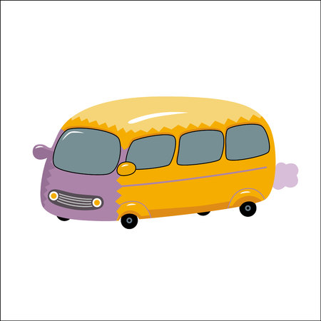 omnibus: A vector illustration of the toy yellow bus. A part of Dodo collection - a set of educational cards for children.