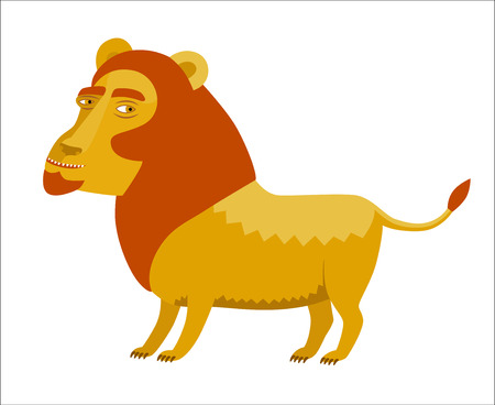 mane: A vector illustration of the lion with a red mane A part of Dodo collection - a set of educational cards for children. Illustration