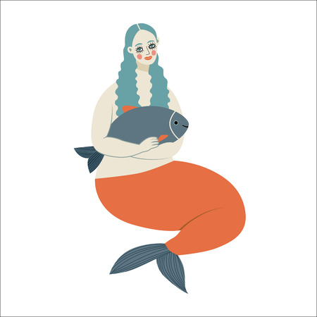 dodo: A vector illustration of a mermaid holding a fish. A part of Dodo collection - a set of educational cards for children.