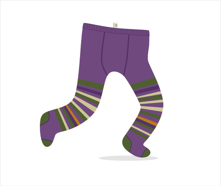 Tights - a vector illustration of kids violet striped running tights. A part of Dodo collection.