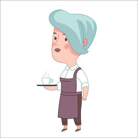 Kellnerin, Cartoon-Vektor-Illustration, eine blauhaarige Frau trägt eine Schürze mit einem Tablett mit einer Tasse Kaffee oder Tee auf sie, ein Teil von Dodo Menschen Sammlung Halte