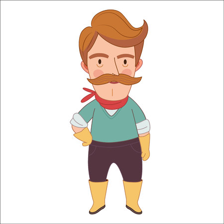 neckerchief: Gardener, cartoon vector illustration, a middle aged man wearing moustache, gloves, neckerchief and rubber boots, a part of Dodo people collection