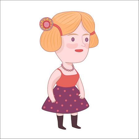 dodo: Pretty girl, cartoon vector illustration, a young blonde standing woman wearing a dotted violet skirt, red top and beads, a part of Dodo People collection
