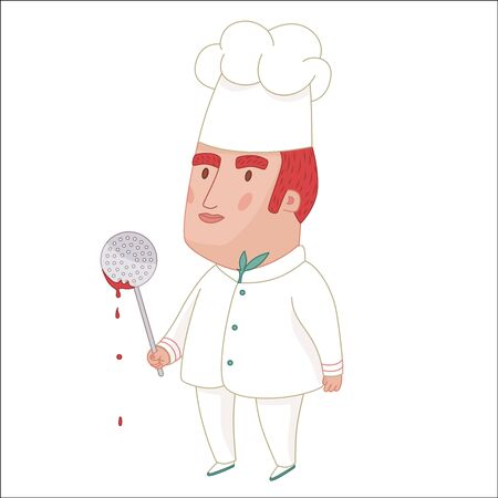 middle aged: Cook, cartoon vector illustration, a middle aged red haired man wearing a chief hat, holding perforated spoon with some red sauce on it, a part of Dodo people collection