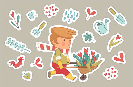 dodo: Love Gardening stickers, cartoon vector illustration - a gardener wearing gloves and yellow rubber boots wheeling a bunch of flowers in a barrow, surrounded by garden elements in heart shape, Dodo people set Illustration