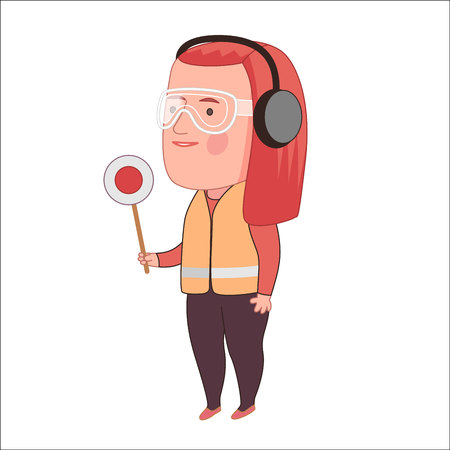red haired: ground personnel, cartoon vector illustration, a red haired woman doing aircraft marshalling hand signals wearing a vest, a part of Dodo people collection Illustration