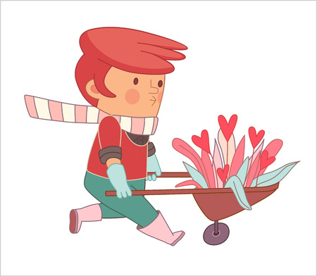 dodo: Love Gardener, cartoon  vector illustration, a read-hired gardener wearing gloves and pink rubber boots weeling a bunch of flowers in a barrow, a part of Dodo people collection Illustration