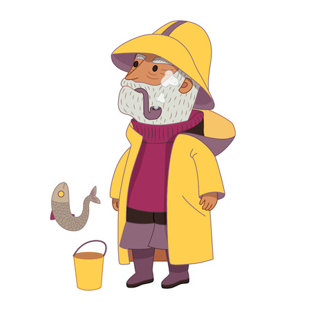 raincoat: Fisherman, flat cartoon vector illustration, an elderly grey-haired man wearing vintage fisherman hat, raincoat, sweater and boots, with a bucket and a fish, a part of Dodo people collection Illustration